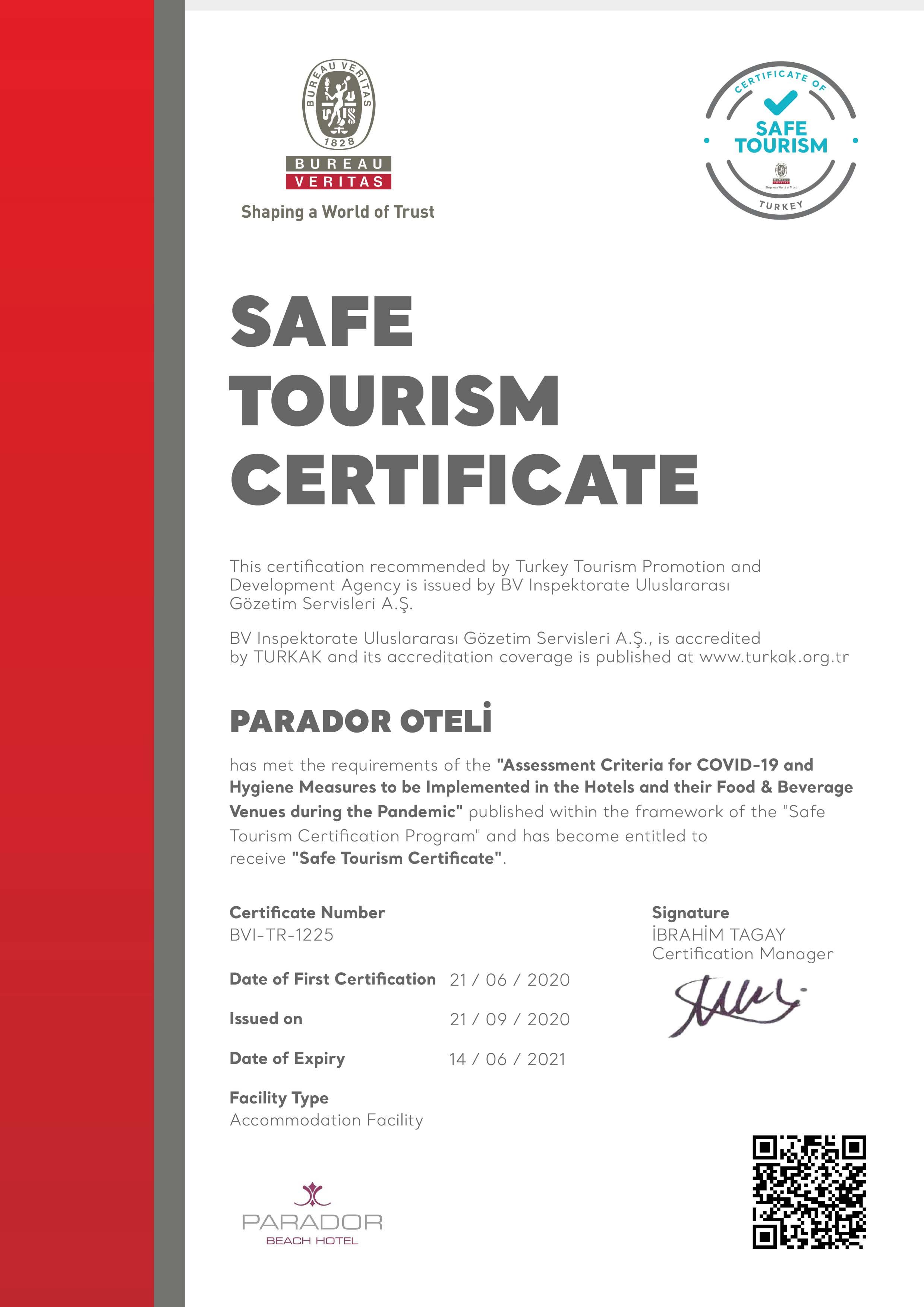 Güvenli Otel Sertifikası